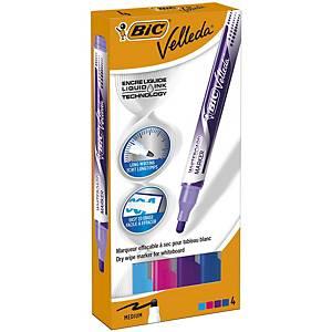 Bic Velleda Pocket Whiteboard Pens Large Bullet Nib -Assorted Colours, PK 4