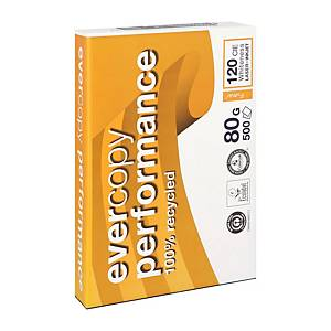 Clairefontaine Evercopy Performance gerecycleerd wit A4 papier, 80g, 5 x 500 vel
