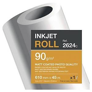 Clairefontaine InkJet Plotter Paper 610 mmx45 m 90 g/m2, (2624C)