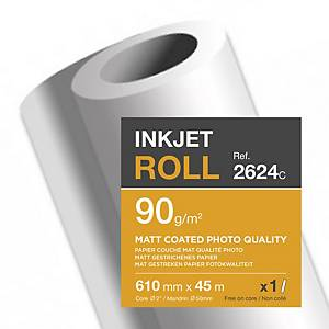 Clairefontaine Matt Coated Inkjet Paper Plotter Roll 90 gsm 45M X 610mm - 1 Roll