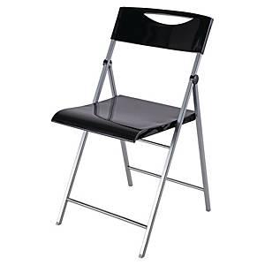Chaise pliante Alba Smile, plastique, noire, le paquet de 2 chaises