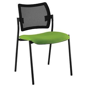 Chaise visiteur Sokoa Nancy - empilable - résille et tissu - noir/vert