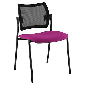 Chaise visiteur Sokoa Nancy - empilable - résille et tissu - noir/violet
