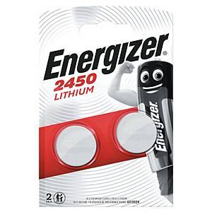 Knapcelle batterier Energizer Lithium CR2450, 3V, pakke a 2 stk.