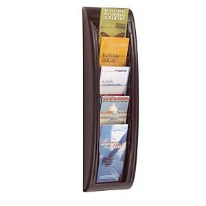 Paperflow muurdisplay met 5 vakken voor in 3 gevouwen A4 documenten, zwart