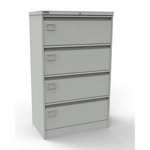 Metal 4 Drawer Side Filer Cabinet Grey