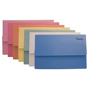 Lyreco Document Wallets Foolscap 250gsm Asst - Pack Of 50