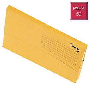 Lyreco Document Wallets Foolscap 250gsm Yellow - Pack Of 50