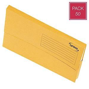 Pack 50 pastas classificadoras tipo bolsa Lyreco - fólio - cartolina - amarelo