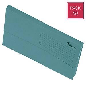 Pack 50 pastas classificadoras tipo bolsa Lyreco - fólio - cartolina - azul