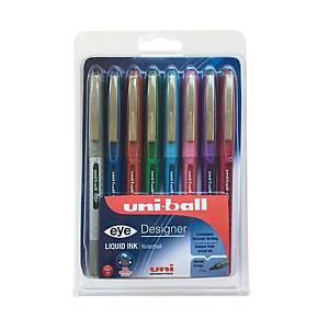 Uniball Designer Eye Rollerball Asst Pk8