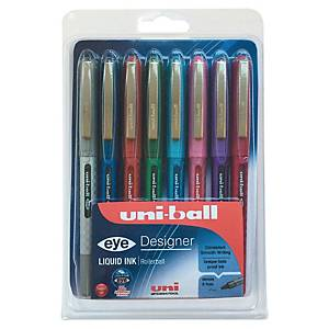 Uni-Ball Eye Designer roller pen, medium, metalen punt, etui met 8 kleuren