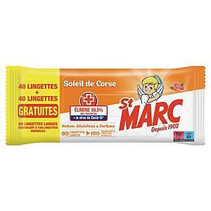 Lingette antibactérienne St Marc - soleil de Corse - paquet de 40