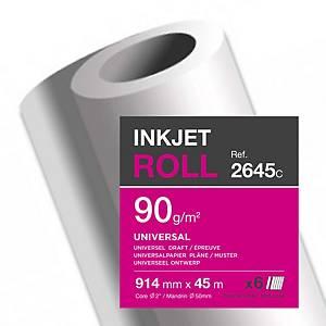Plotterpapier Clairefontaine Universal InkJet, 914mm x 45m, 90g/m2, Pack à 6