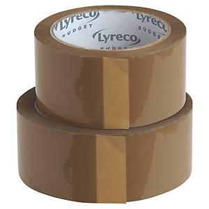 LYRECO Packband BUDGET, 50 mm x 100 m, braun, 6 Stück