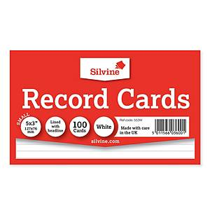 Silvine White 127 X 76mm Record Cards - Pack of 100