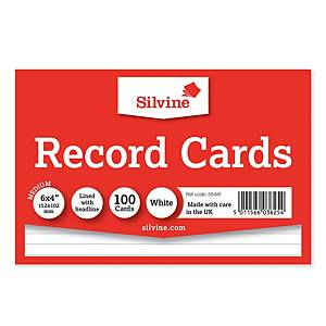 Silvine White 152 X 102mm Record Cards - Pack of 100