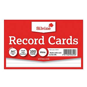 Silvine White 203 X 127mm Record Cards - Pack of 100