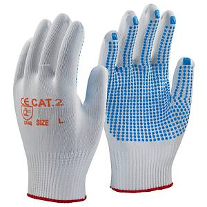 Polka Dot Gripper Gloves White/Blue Size 9  (Pair)