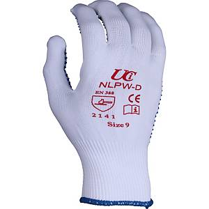Polka Dot Gripper Gloves White/Blue Size 8 (Pair)