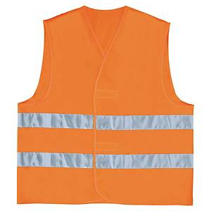 High-visibility waistcoat with 2 horizontal bands - size L - orange