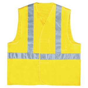 High-visibility waistcoat with horizontal and vertical bands - size L - yellow