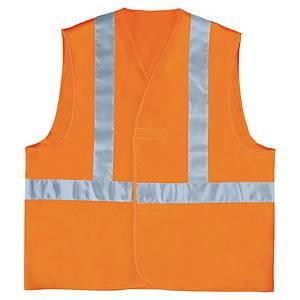 Fluorescerend veiligheidsvest met horizontale en verticale band oranje - maat L