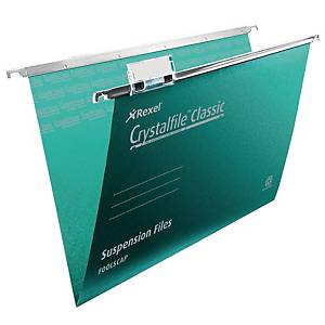 Rexel Crystalfile Classic Foolscap Suspension File 15mm V Base Green – Pk 50