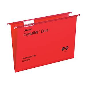 Rexel Crystalfile Extra Foolscap Suspension File 15mm V Base Red – Pk 25