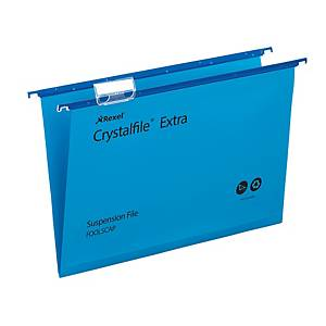 Rexel Crystalfile Extra Foolscap Suspension File 15mm V Base Blue – Pk 25