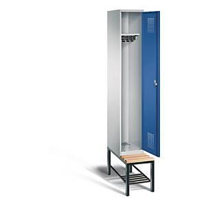Garderobeskab CP Evolo med bænk 1 rum 30 cm blå/grå