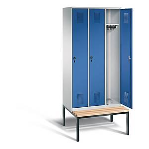 Garderobeskab CP Evolo med bænk 3 rum 90 cm blå/grå