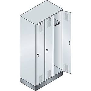 Garderobeskab CP Evolo med ben 3 rum 90 cm grå/grå