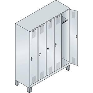 Garderobeskab CP Evolo med base 5 rum 150 cm grå
