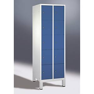 Garderobeskab CP Evolo med ben 2 x 5 rum 60 cm blå/grå