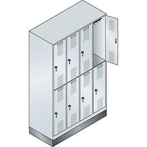 Garderobeskab CP Evolo med base 4 x 2 rum 120 cm grå
