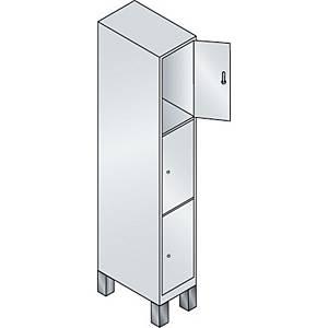 Garderobeskab CP Evolo med ben 1 x 3 rum 30 cm grå