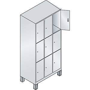 Garderobeskab CP Evolo med ben 3 x 3 rum 90 cm grå