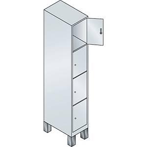 Garderobeskab CP Evolo med ben 1 x 4 rum 30 cm grå