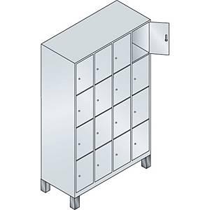 Garderobeskab CP Evolo med ben 4 x 4 rum 120 cm grå