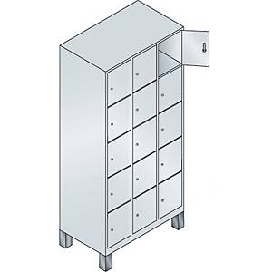 Garderobeskab CP Evolo med ben 3 x 5 rum 90 cm grå/grå