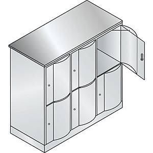 Garderobeskab CP Resisto med base 3 x 2 rum 115 cm grå