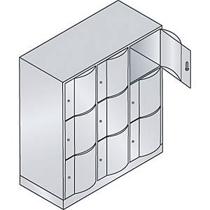 Garderobeskab CP Resisto med base 3 x 3 rum 115 cm grå