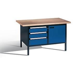 Arbejdsbord CP, 3 skuffer og 1 dør, 150 x 70 cm, gråsort