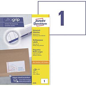 BX100 AVERY 6135 LABEL A5 148X210 WH