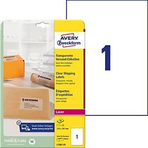 Étiquettes Avery Zweckform L7567, 210 x 297 mm, laser, transp., paq. 25unit.