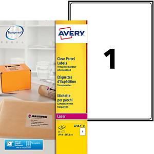 Etiquette adresse Avery - L7567-25 - 210 x 297 mm - transparente - par 25