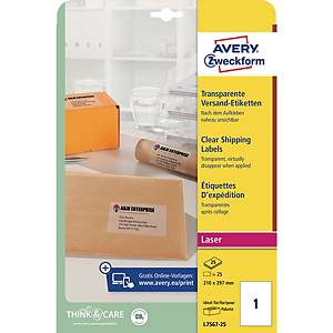 Avery L7567 Laser Labels 1996 X 2891Mm Clear - Box Of 25