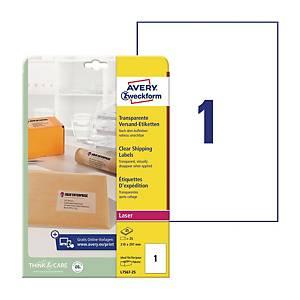 Przezroczyste etykiety wysyłkowe Avery Zweckform 210x297mm, 25 etykiet