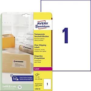 Priehľadné listové etikety Avery, 210 x 297 mm, 1 ks/hárok, L7567-25